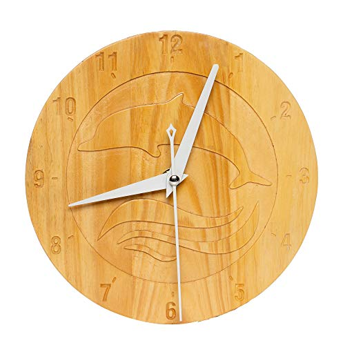 Azonten1 Silent Wall Clock Battery Operated Non Ticking, 8'' Wood Wall Clock Decorative for Kids Bedroom Mini Size, Dolphin Paint