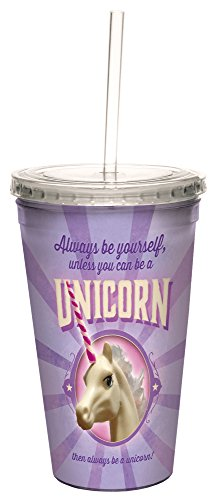 Always Be Yourself Unicorn Double-Walled Cool Travel Cup with Reusable Straw, 16-Ounce, Angi and Silas, Funny Unicorn Gift - Tree-Free Greetings 98163 by Tree-Free Greetings
