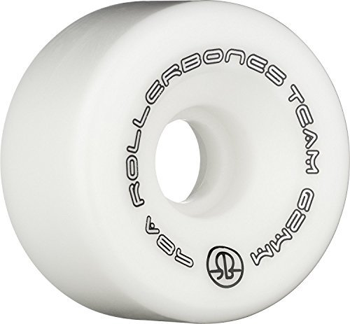 Rollerbones Team Logo 98A Recreational Roller Skate Wheels (Set of 8), White, 57mm by RollerBones