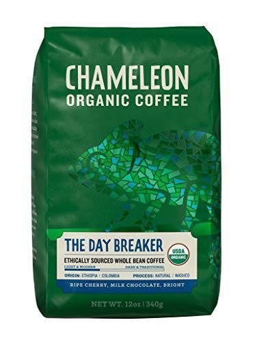 Chameleon The Day Breaker, USDA Organic Arabica Whole Bean Coffee, Light Roast, 12 Ounce Bag