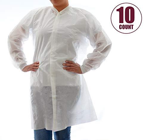 (Dealmed Disposable SMS Lab Coat, No Pockets, White, Medium, 10 Pack)