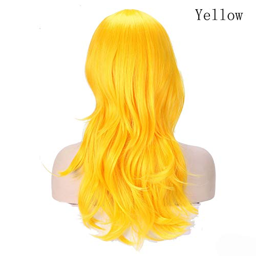 Women Long wavy Wig brown Heat Resistant Fiber Natural Synthetic Hair Head Wig Party For black Women-in Synthetic None,Yellow,24inches -