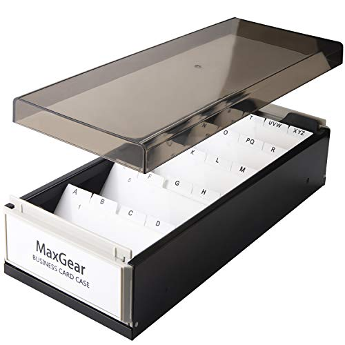 MaxGear Business Card Holder Box Business Card Box Business Card File Business Card Storage Business Index Card Organizer Rolodex, Capacity: 800 Cards, Card Size: 2.2