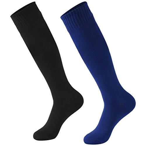 Calbom Knee High Socks Women, College Students Plus Size Football Baseball Soccer Stockings Outdoor Sports Tube Long Team Solid Color Socks 2 Pairs Black/Navy