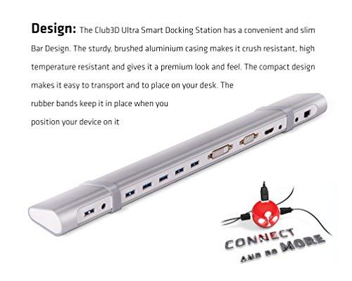 Club 3D USB 3.0 Universal Docking Station USB 3.0 to HDMI DVI VGA Video Multi-Display Adapter 5-Port USB3.0 Hub Gigabit Ethernet SD TF Card Reader Audio Port for Windows 10/8/7 Vista XP Mac OS X Linux by CLUB3D (Image #5)