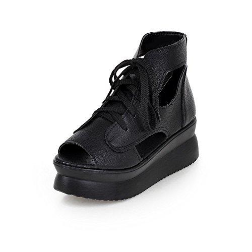 Sandales Noir Correct VogueZone009 Souple d'orteil Femme Lacet à Ouverture Matière Talon Ygqzvrngx