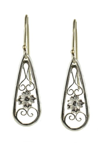 Sterling Silver Tear Drop Shaped Dangle Earrings, Floral Filigree, Antique Style Earrings