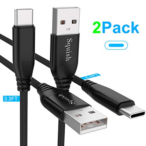 Squish USB Type C Cable (2 Pack/3.3ft&6.6 ft), USB C Cable Nylon Braided (USB 3.0) Fast Charging Charger Cable for Samsung S10 Plus S10e S9 S8 Note 8/9, Google Pixel, Nexus Nintendo Switch LG (Black)