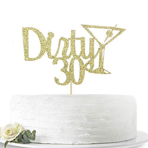 Dirty 30 Birthday Cakes (Gold Glitter Dirty 30 Cake Topper, Happy 30th Birthday Cake Decor, Wedding Anniversary Hello 30 Party Decoration)