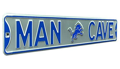 Fremont Die NFL, MAN CAVE, Officially Licensed, REAL 3 Foot, Premium Grade Solid SteelEmbossed STREET SIGN- Prime Wall Decor for Home, Office, Garage- Perfect Gift for Him!!, Detroit Lions, 3'/36