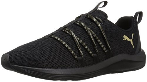 PUMA Women's Prowl Alt Knit Mesh Wn Sneaker, Black-Metallic Gold, 10 M US