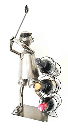 Professional Golfer Driving Range Swing Hand Made Metal Three Wine Bottle Holder Caddy - Swing Wine Cellar