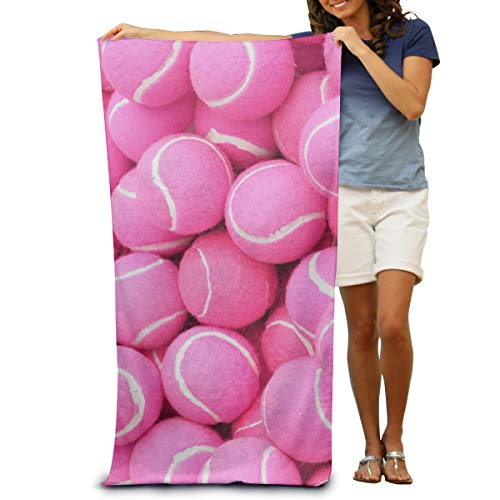 JOEKAORY Bright Pink Tennis Balls Print Beach Towel Personalized Custom Ultra Soft Super Water Absorbent Multi-Purpose Oversized for Home Hostel 31.5
