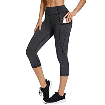 Fittoo Womens High Waisted Athletic Capri Leggings Side