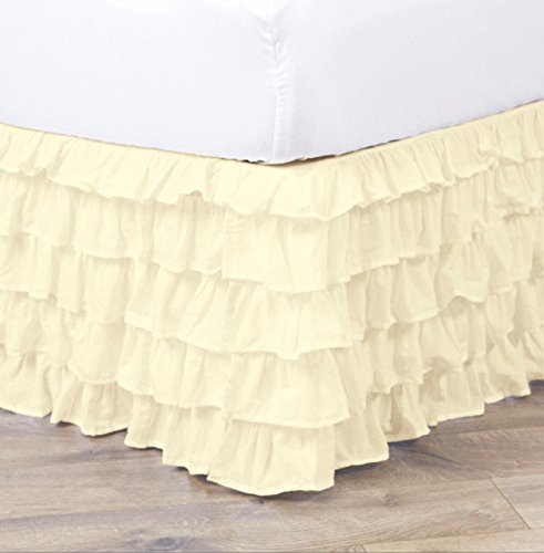 Empire Home Pleated Ruffled Bed Skirt Solid Dust Ruffle All Sizes 9 Colors (Full Size, Beige) (Full Pink Ruffle Dust)