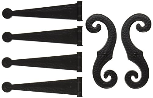 Decorative Vinyl Shutter Hinges and S Holdback Hooks for Exterior Decorative Shutters, Black (Set) (Exterior Shutter Hinges)