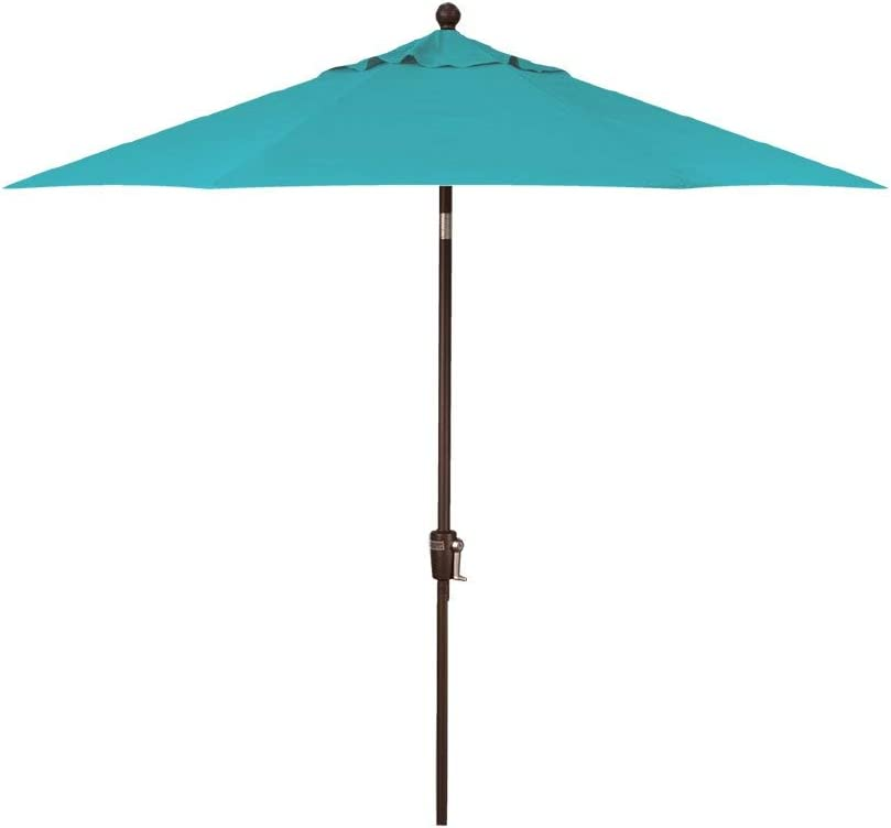 Treasure Garden 9-Foot Auto-Tilt Market Umbrella with Bronze Frame and Obravia (4 YR Fabric Warranty) Fabric: Aqua