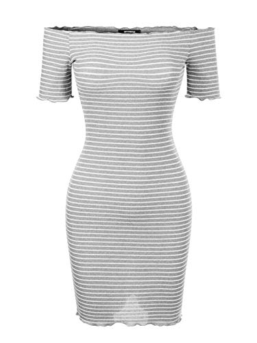 BEYONDFAB Women's Off Shoulder Short Sleeve Stripe Knit Dress Heather Grey S