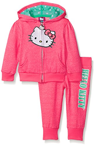 Hello Kitty Baby Girls' 2pc Hoodie and Pant Set, Neon Heather Pink, 18 Months (Best Hello Kitty Presents)