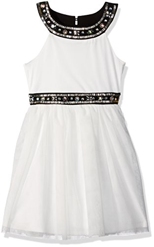 My Michelle Girls' Big Dress with Jewel Details and Tulle Skirt, Ivory/Black, 16 (My Clothes Michelle)