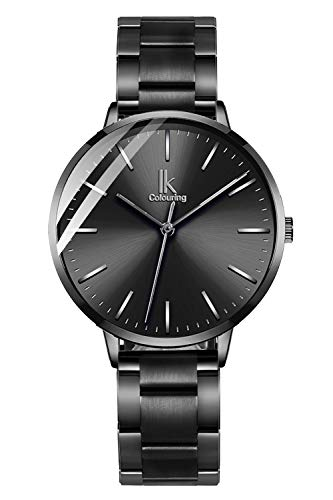 STONE Womens Watch,Black Stainless Steel Classic Slim Quartz Watch for Ladies
