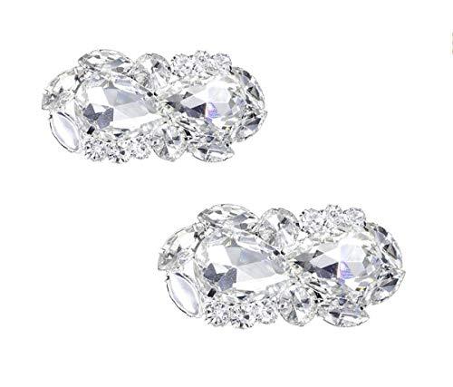- 2PCS Elegant Rhinestone Crystal Shoe Clips Shoe Buckle Shoes Decoration Charms for Women Girls Party Bridal Wedding (B#)