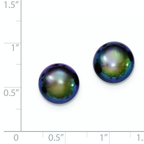 Sterling Silver 11-12mm Black Freshwater Cultured Button Pearl Stud Earrings