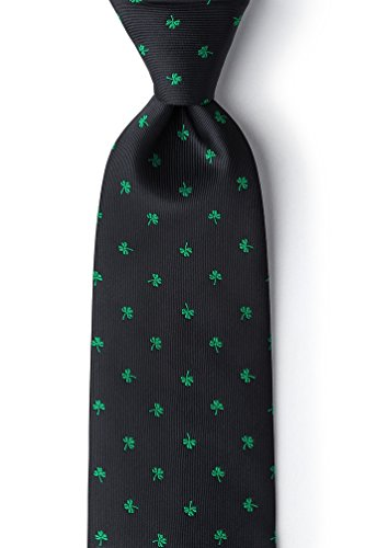 Men's Black Microfiber St Patrick's Day Good Luck Shamrocks Clovers Novelty Tie Necktie (Extra Long)