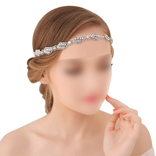 Vintage Bridal Headpieces - Wedding Headband for Bridal Headpiece Jewelry Handmade Crystal Rhinestone Vintage Beads Satin Ribbon Women Hair Band Accessories BlueTop
