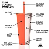Tumblers with Lids (4 pack) 22oz Pastel Colored