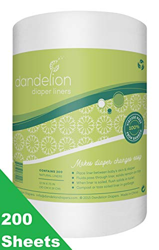 Dandelion Diapers Biodegradable and Flushable Natural Diaper Liners, 100% Viscose Made From Bamboo, 200 Sheets