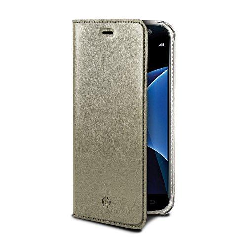 Celly airpelle Agenda Leder Wallet Cover Schutzhülle mit Glasfaser für Samsung Galaxy S7Edge–Gold