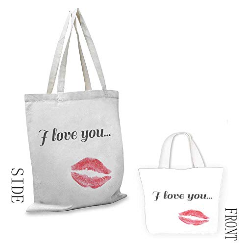 Ladies casual canvas bag I Love You Grunge Style Seductive Female Smooch with Red Toned Lipstick Valentines Cosmetic bag 16.5