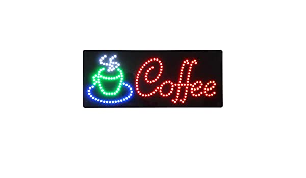 HIDLY LED Coffee Cafe Espresso Cappuccino Open Light Sign Super Bright Electric Advertising Display Board for Message Business Shop Store Window Bedroom 27 x 15 inches
