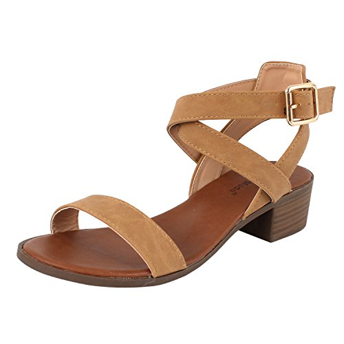 (TOP Moda Women's Vision-75 Ankle Strap Open Toe Heeled Sandal Tan 7.5)