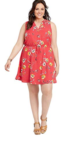 (maurices Women's Plus Size Retro Floral V-Neck Dress 3 Cherry Berry Combo)
