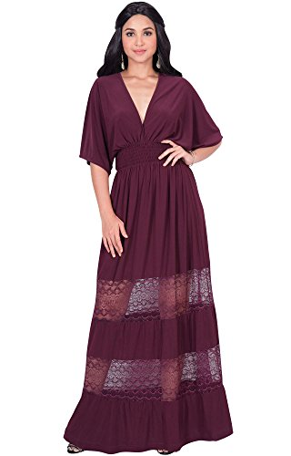 237883e1409a KOH KOH Plus Size Womens Long Sexy Summer Spring V-Neck Half Short Kimono Sleeve  Sundress Lace Flowy Casual Empire Waist Boho Bohemian Tall Beach Elegant ...
