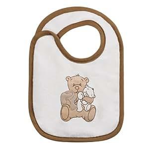 Câlin Câline Enzo 203.20 - Babero con velcro, diseño con bordado de oso con osito de peluche y tarro de miel, color marrón y blanco