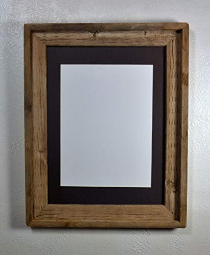Picture Frame With 9x12 Charcoal Mat Reclaimed Wood Rustic Style Complete With Glass