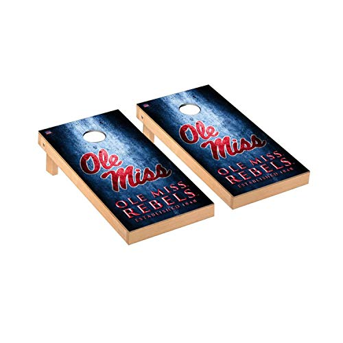 Victory Tailgate Regulation Collegiate NCAA Museum Series Cornhole Board Set - 2 Boards, 8 Bags - Ole Miss Rebels