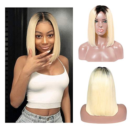 Loviness Short Lace Front Human Hair Bob Wigs With Baby Hair 180% Density 13x4 Lace Frontal Glueless Straight Remy Hair Ombre Natural Black to Blonde 1B/613 Virgin Hair Pre Plucked(8 inches) (Best Lace Wig Websites)