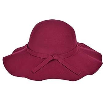 Vbiger Fashion New Women Vintage Wool Round Fedora Cloche Cap Wool Felt Bowler Hat (Red Wine)