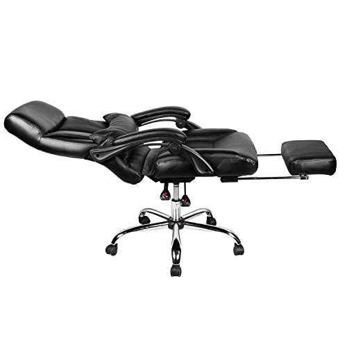 【Promotion】Merax New Black Mordern Ergonomic Pu Leather Office Executive Chair High Back Computer Desk Lumbor Support Chair Pu Napping Chair