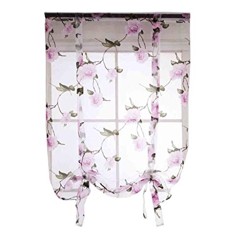 Jaromepower Floral Print Tulle Voile Door Window Curtain Drape Panel Sheer Scarf Valances Sheer Curtains for Living Room Curtain Panels for Bedroom Natural Graceful Leaves Renshi Flowers