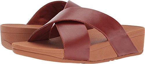 Cross Slide (FitFlop Women's Lulu Cross Slide Leather Sandal Cognac 7 M US)