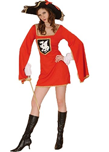 Ladies French Medieval Musketeers Fancy Dress Outfit Womens World Book Day Party Costume One Size Fits UK 8-14 ()