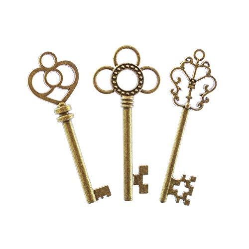 Antique Style Bronze Brass Skeleton Castle Dungeon Pirate Keys for Birthday Party Favors, Mini Treasure Toy Gifts, Medieval Middle Ages Theme (30 Pieces)