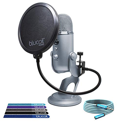 Blue Microphones Yeti USB Mic with Multi-Pattern Condenser Capsules (Cool Grey) Bundle with Blucoil Audio 6