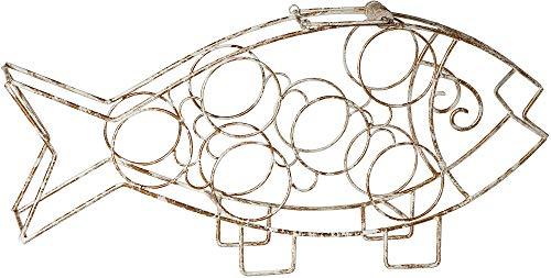 (Antique Gold Fish Wine Rack-Free Standing Wine Rack-Beautiful 6 Bottle Wine Storage with Handle)