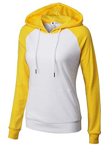 H2H Women's Pullover Stripe Pocket Knee Length Sweatshirt Causal Hoodie Dress WHITEYELLOW US 2XL/Asia 2XL (CWOHOL033)